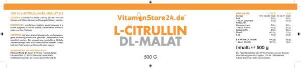 VitaminStore24 L-Citrullin DL Malat